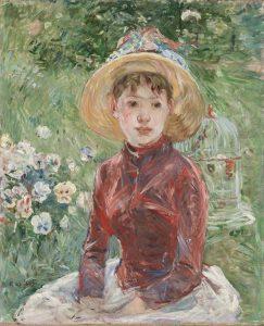 Morisot_Berthe_jeune_fille_herbe_corsage_rouge_mlle_isabelle_lambert_1885