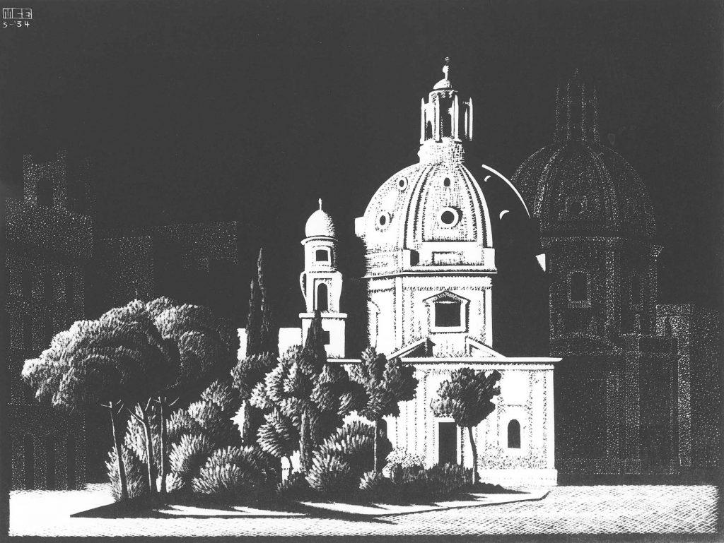 Nachtelijk-Rome-Kerkjes-Piazza-Venezia-1934-M.C.-Escher-©-the-M.C.-Escher-Company