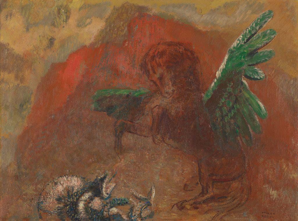 Odilon-Redon-Pégase-et-lhydre-Pegasus-en-de-hydra-Pegasus-and-the-hydra-circa-1907
