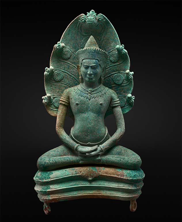 Het leven van Boeddha bronzen beeld 12e eeuw