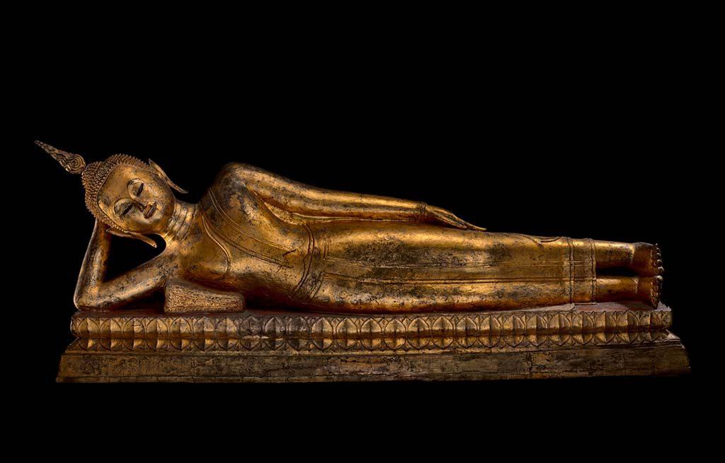 Het leven van Boeddha liggende-Boeddha in Nirwana houdeing