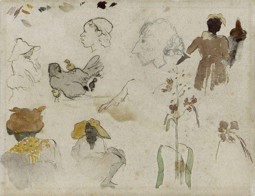 Gauguin_Schets_meerdere_figuren_bloemen_dier
