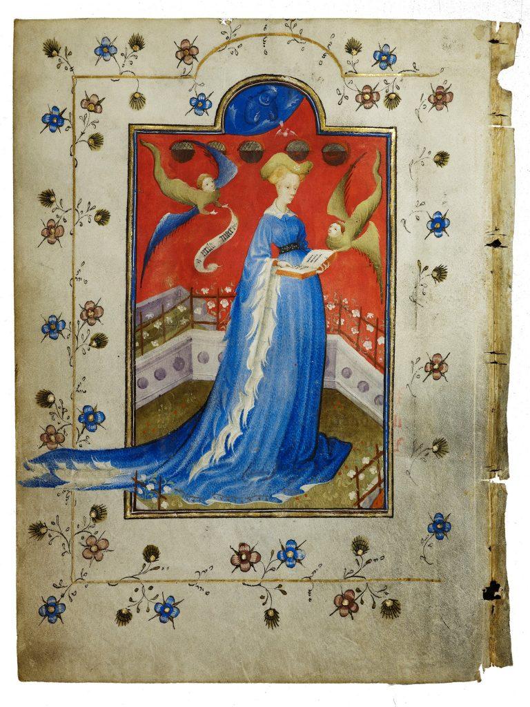 Maria van Gelre in blauwe-jurk_staand-in-een-besloten-hofje-ca-1415-coll-Staatsbibliotheek-zu-Berlin