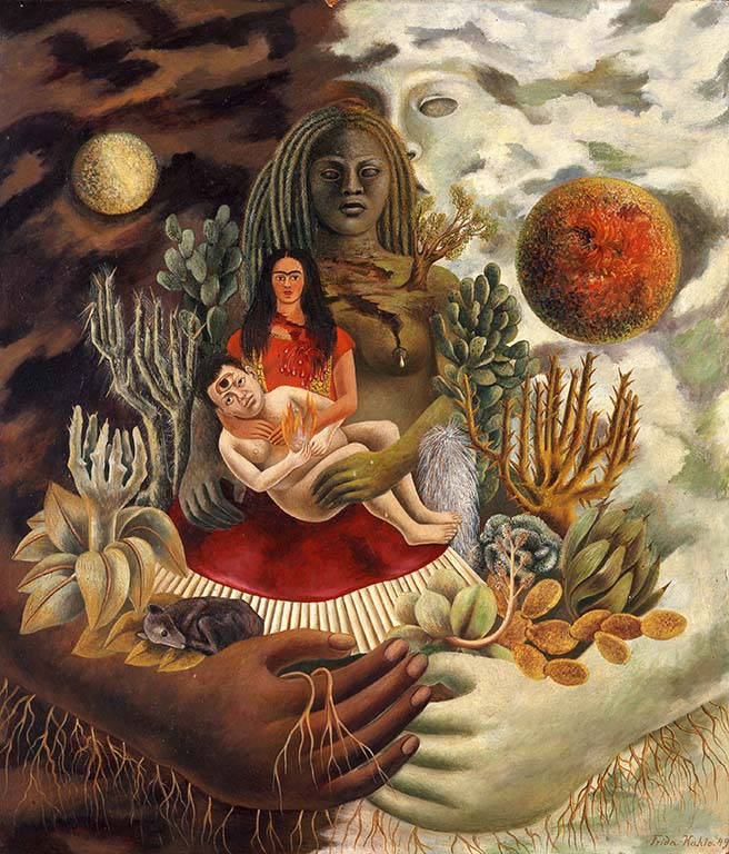 Frida Kahlo The-Love-Embrace-of-the-Universe-the-Earth-Me-Diego-en-Señor-Xolotl-1949-The-Jacques-en-Natasha-Gelman-Collec-en-The-Vergel-Collection
