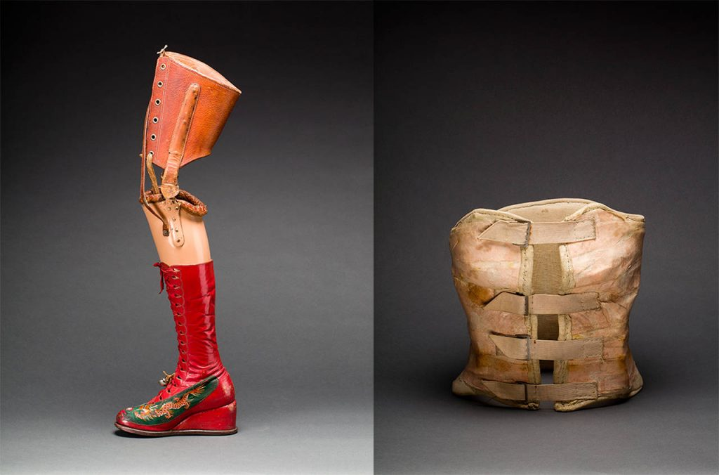 Prosthetic-leg-with-leather-boot-1953-Mexico.-r-Plaster-corset-about-1954foto-Javier-Hinojosa.-Diego-Rivera-and-Frida-Kahlo-Archives-Banco-de-México