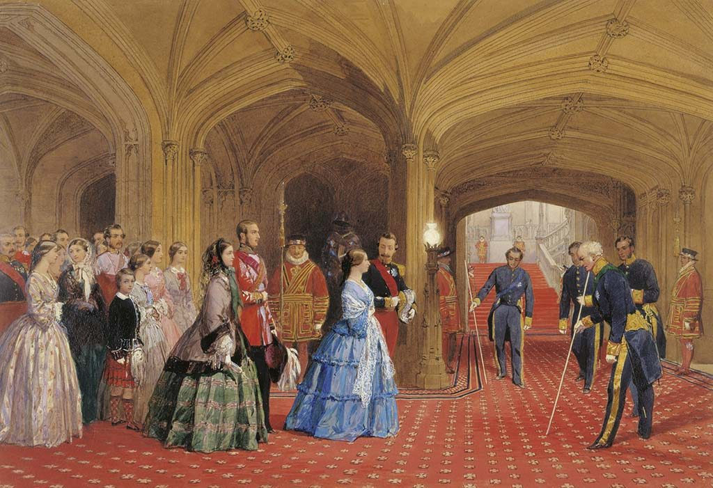 Victoria receives the Emperor and Empress of France in the Entrance Hall at Windsor Castle, 1855