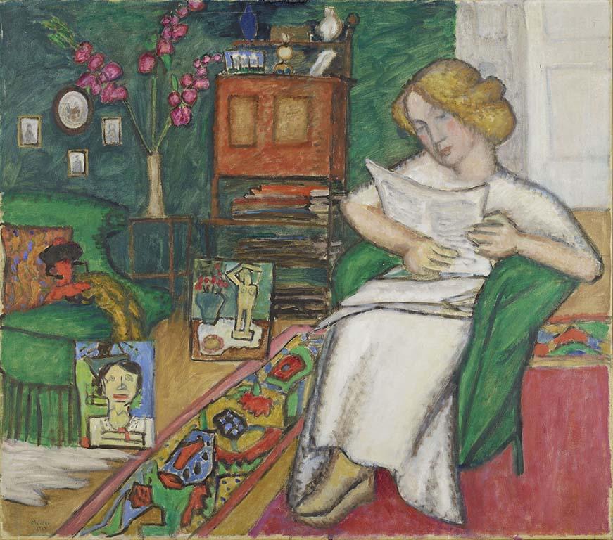 GABRIELE_MÜNTER_Im-Zimmer_-Frau-im-weißem-Kleid-1913-Coll-Lenbachhaus-©-Gabriele-münter-und-Johannes-Eichner-Stiftung