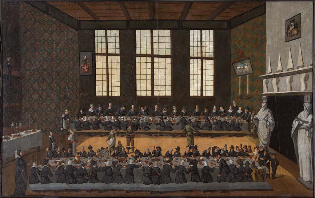 Huwelijksmaal-Eraert-van-Pipenpoy-met-Jel-van-Liauckema-in-de-grote-zaal-van-Liauckemastate-te-Sexbierum-1616