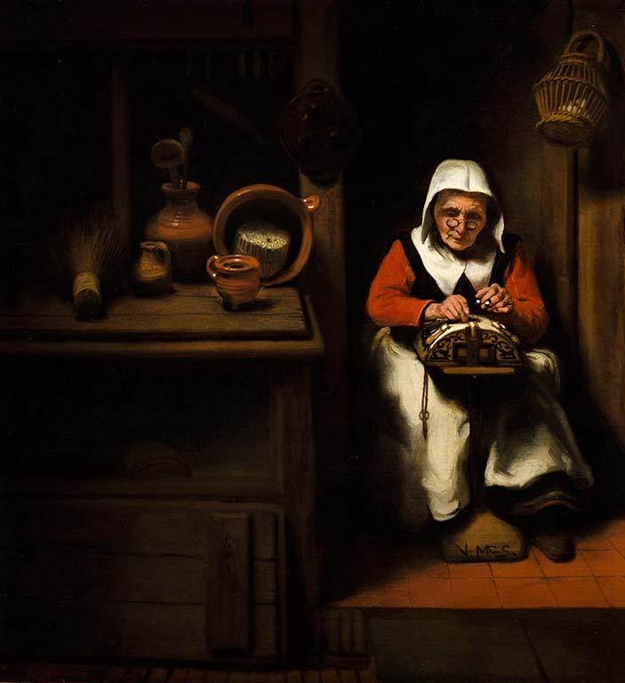 Mauritshuis-Den-Haag_Nicolaes-Maes-De-oude-kantwerkster-c.-1655