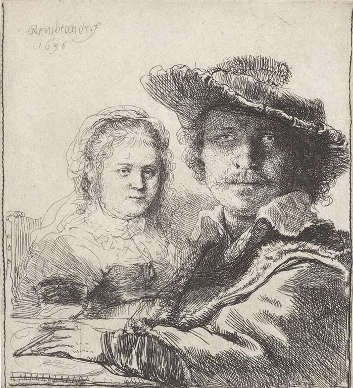 Saskia Rembrandt zelfportret-met-Saskia-1629-1633