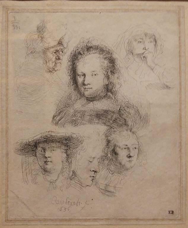 Saskia en Rembrandt-schetsblad-5-koppen-Saskia-en-een-oudere-vrouwn-1636-foto-Wilma-Lankhorst