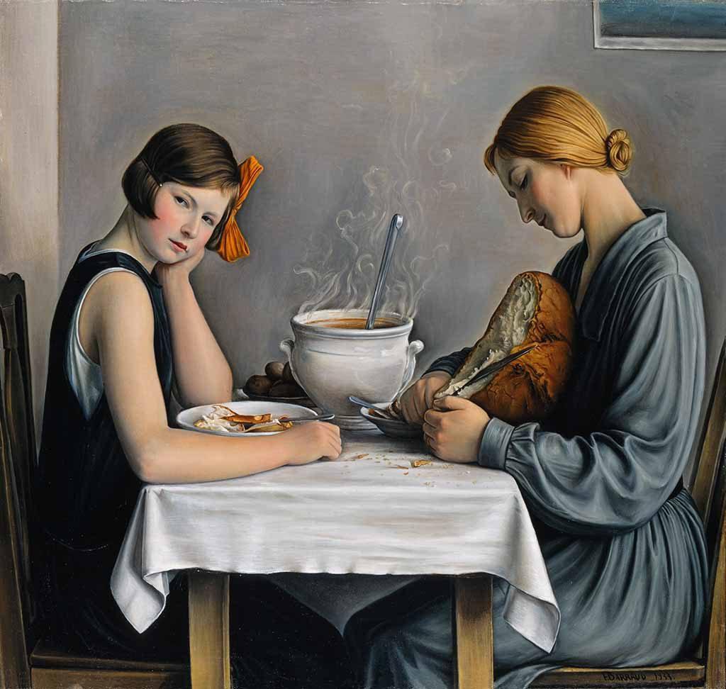 Broers-Barraud_-François-Barraud-Vrouw-die-brood-snijdt-voor-de-soep-1933-particuliere-collectie-fotograaf-Jean-Pierre-Kuhn