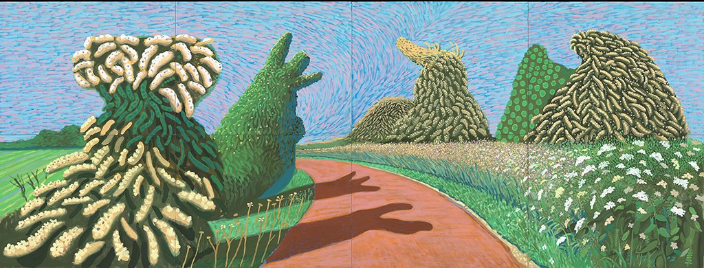 David Hockney Bloeiende-meidoorns-langs-de-Romeinse-weg-2009-©-David-Hockney-Foto-Richard-Schmidt