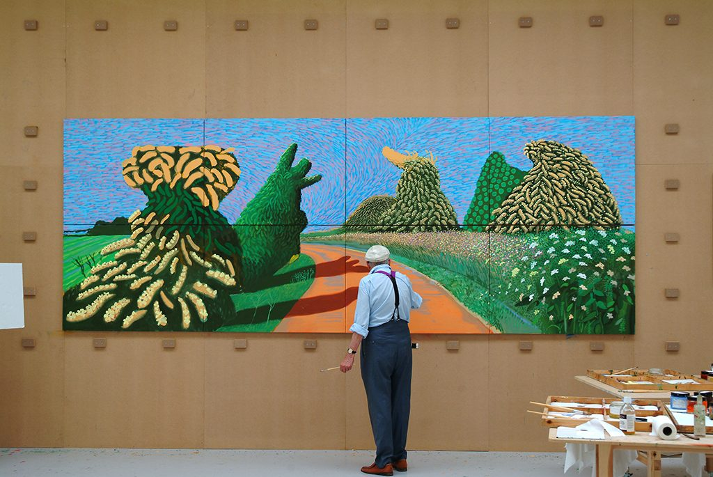 David_Hockney-schildert-Bloeiende-meidoorns-langs-de-Romeinse-weg-2009-©-David-Hockney-Foto-Jean-Pierre-Gonçalves-de-Lima