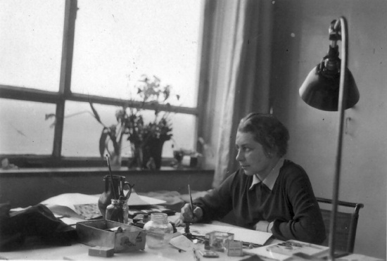 Gunta Stölzl in-haar-atelier