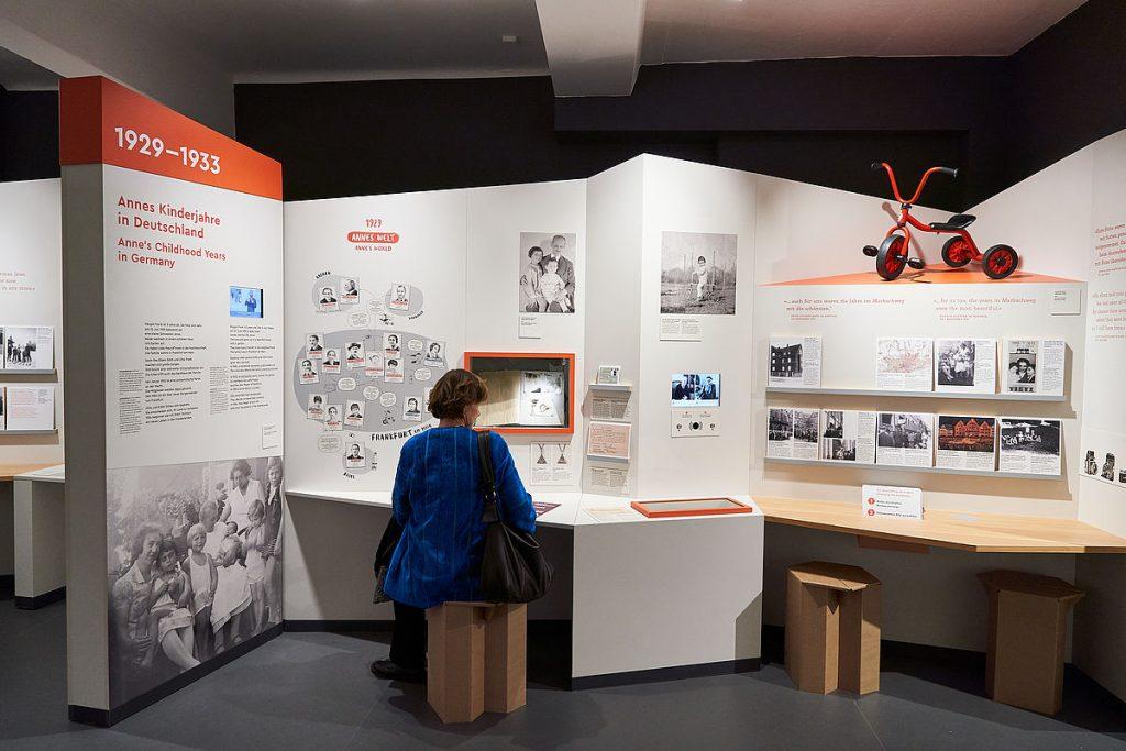 Zaalimpressie tentoonstelling Alles Über Anne in het Anne Frank Zentrum in Berlijn.© foto Gregor Zielke.