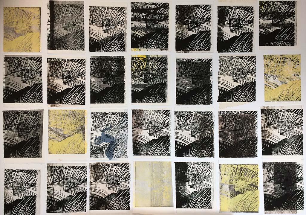 Marijke_van_Dijk_A month of leftovers_linodruk op oude drukken en papierresten_ 2018