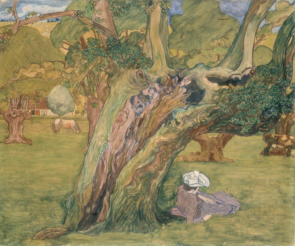 Jan_Toorop_Herfstlandschap _ Oude eiken in Surrey (1890) Collectie Stedelijk Museum, Amsterdam