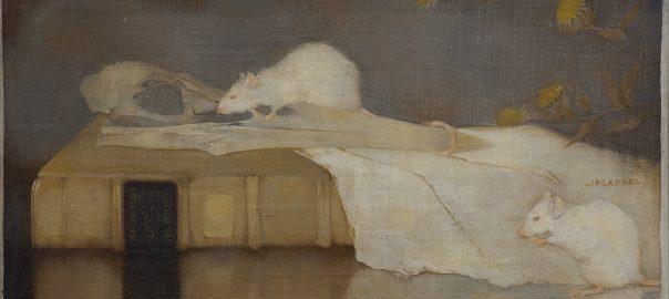 Jan Mankes, Witte muizen op perkamenten boekband, 1911, particuliere collectie