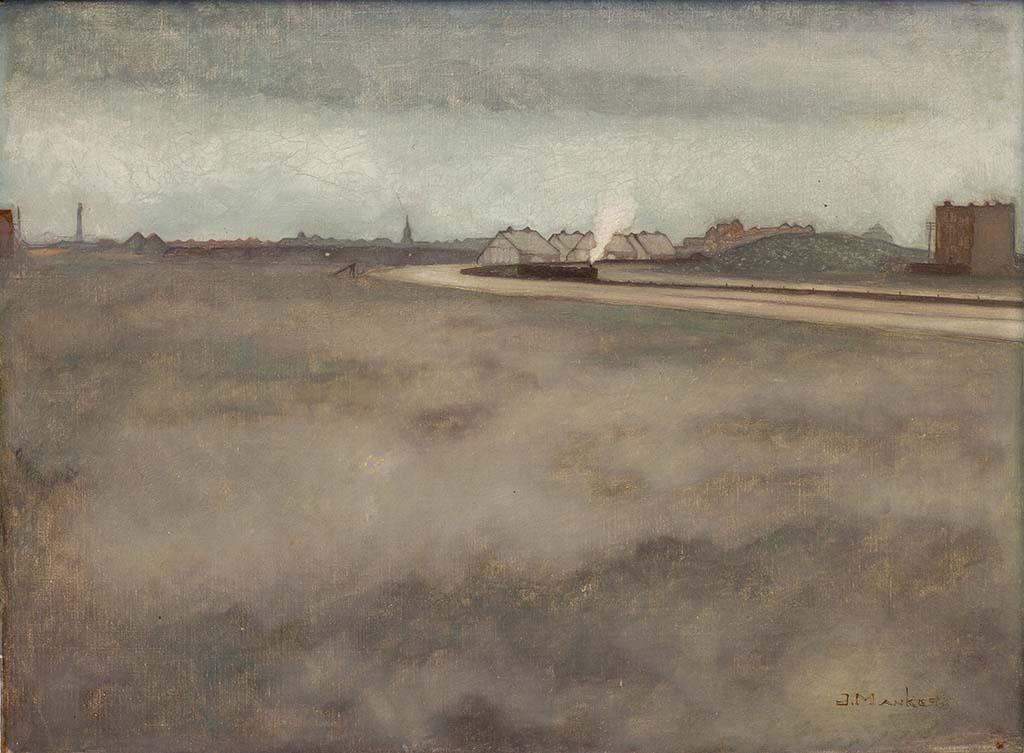 Jan_Mankes_eeuwfeest_ Duingezicht met stoomtrein (1915) particuliere collectie