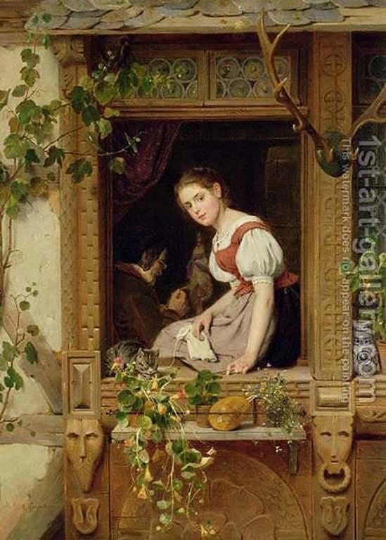 Koekkoek Haus AF Siegert_Am Fenster Förstertochter (1874) Privatebesitz_Munchen