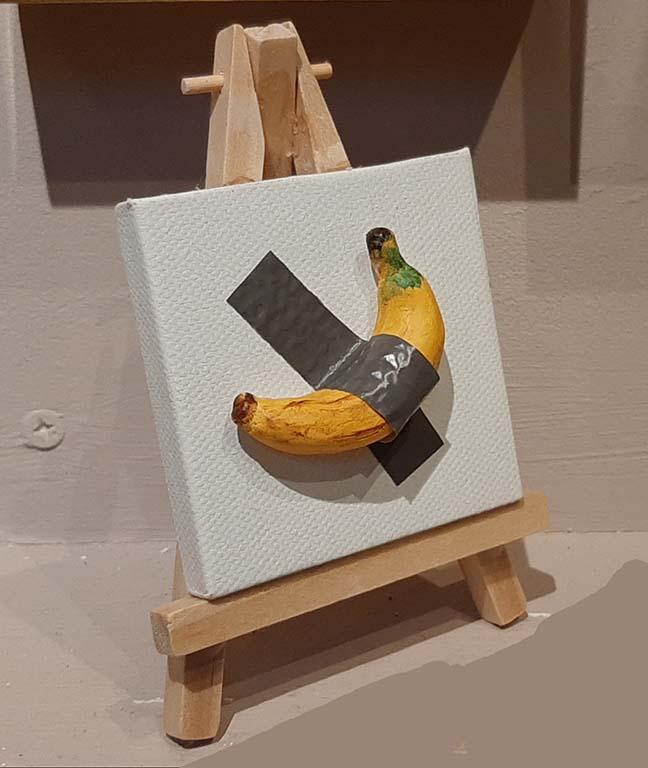 Banaan op canvas © Corri Legdeur inspiratie Maurizio Cattelan Visitekaartjes 2020 © foto Wilma_Lankhorst