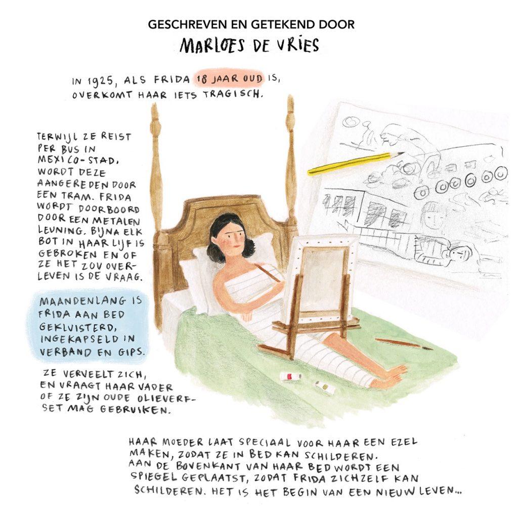 Musea 2021 Frida_Kahlo_haar leven in tekeningen © Marloes de Vries Drents Museum 2021