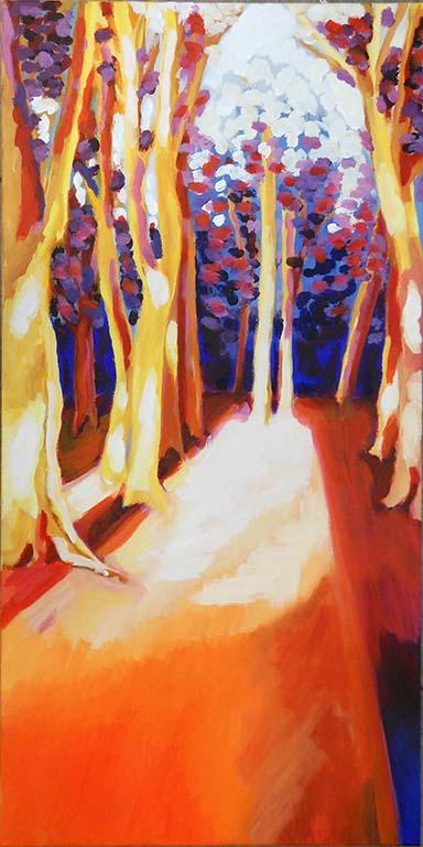 Elganan Jelsma Boslandschap oranje (juli 2015) acryl op doek © Elganan Jelsma