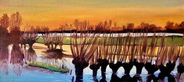 Doro Krol wilgen in het water 2020 olieverf op doek 30x40 cm © Doro Krol.