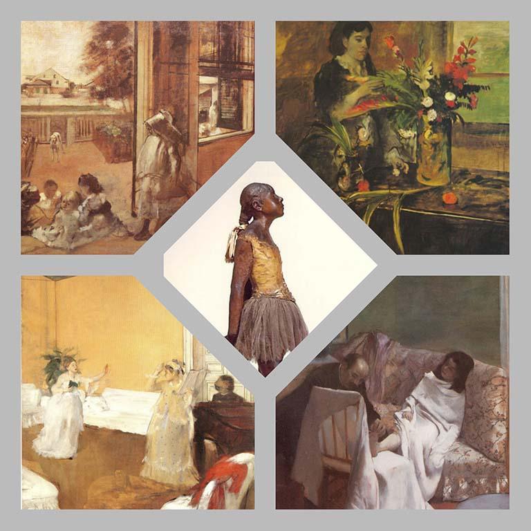 Arthur Japin Mrs.Degas vier schilderijen en een scuptuur © Edgar_Degas © collage Wilma_Lankhorst
