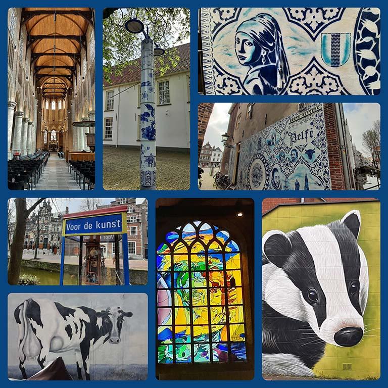 Street art in Keramiekstad Delft_Nieuwe kerk en street art © foto Wilma-Lankhorst