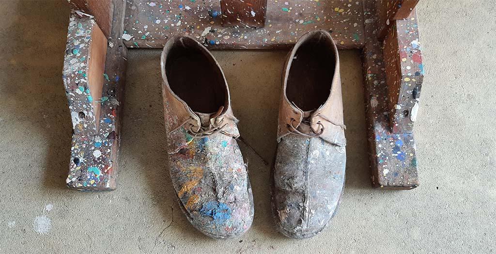 Nic.Jonk atelier de schoenen van de kunstenaar © foto Wilma_Lankhorst