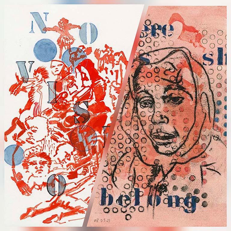 Nalini Malani collage (1 x rood 1 x wit) Exile Kunstmuseum Den Haag © foto Wilma_Lankhorst